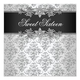 "Silver Black Damask Black White Sweet 16 Birthday 5.25"" Square Invitation Card"