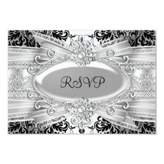 Silver black damask & Bow 25th Anniversary RSVP Card