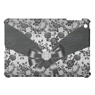 Silver Black Damask Floral Bow Elegant Classy iPad Mini Covers