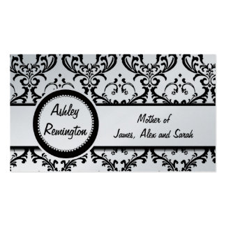 Silver Black Damask Mommy Calling Cards Business Cards