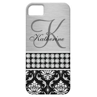 Silver Black Damask Name Monogram iPhone 5 Case