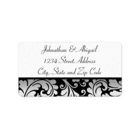 Silver Black Damask Pattern Custom Address Label