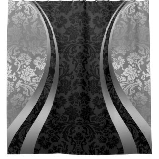 Black And Silver Shower Curtains Zazzle