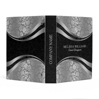 Silver & Black Damasks Modern Geometric Design Mini Binder