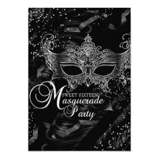 Silver Black Diamond Mask Masquerade Sweet 16 Card