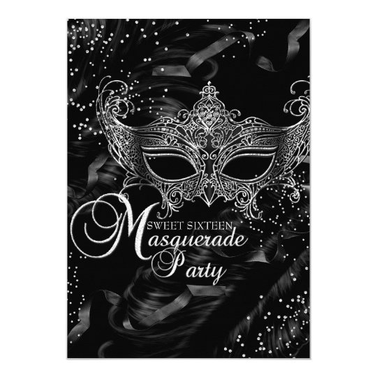 Silver Black Diamond Mask Masquerade Sweet 16 Card | Zazzle.com