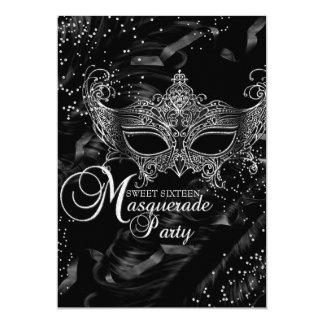 Silver Black Diamond Mask Masquerade Sweet 16 5x7 Paper Invitation Card