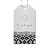 Silver black diamond pattern Bar Mitzvah Gift tag