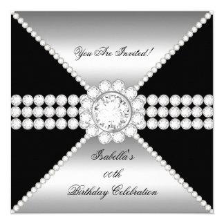 Silver Black Diamond Sophisticated Birthday Party Card