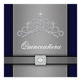Silver Black Diamond Tiara Quinceanera 5.25x5.25 Square Paper Invitation Card