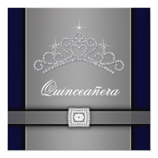 Silver Black Diamond Tiara Quinceanera Custom Announcement