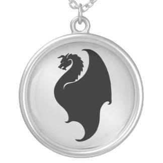 Silver & Black Dragon Mens Chain Necklace