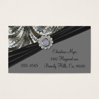 Silver & Black Draped Pattern Bow Flower Business Card