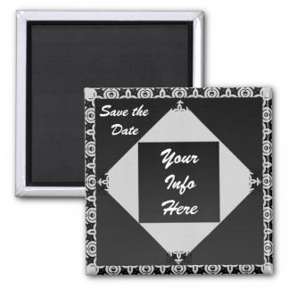 Silver & Black Eloquence 2 Inch Square Magnet