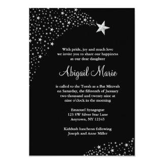 Silver Black Falling Stars Bat Mitzvah Card