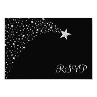 Silver Black Falling Stars Bat Mitzvah RSVP Card