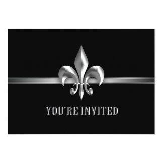 Silver Black Fleur de Lis Event Card