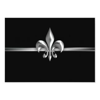 Silver Black Fleur de Lis Event I Card