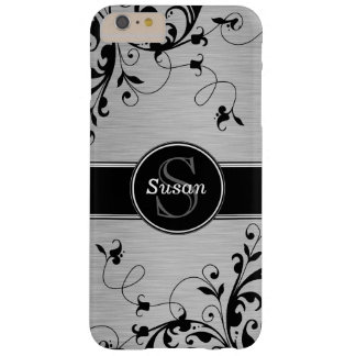 Silver Black Floral Swirls Barely There iPhone 6 Plus Case