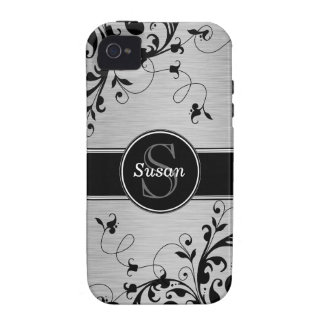 Silver Black Floral Swirls iPhone 4 Case-Mate iPhone 4/4S Covers