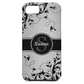 Silver Black Floral Swirls iPhone 5 Case-Mate iPhone SE/5/5s Case