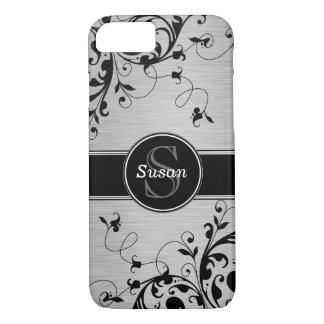 Silver Black Floral Swirls iPhone 7 Case