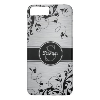 Silver Black Floral Swirls iPhone 7 Plus Case
