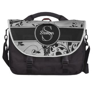 Silver Black Floral Swirls Personalized Laptop Bag
