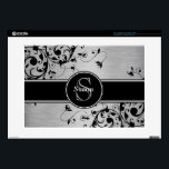 "Silver Black Floral Swirls Personalized Laptop Ski Decals For 15&quot; Laptops<br><div class=""desc"">Silver Black Floral Swirls Personalized Laptop Skin Fun, yet professional, this Personalized Silver Brushed Steel Effect photo and Black floral swirls printed on a laptop skin. Make a fashion statement with your monogram initial and name on a circular tag with a black line on a floral swirls pattern and a...</div>"