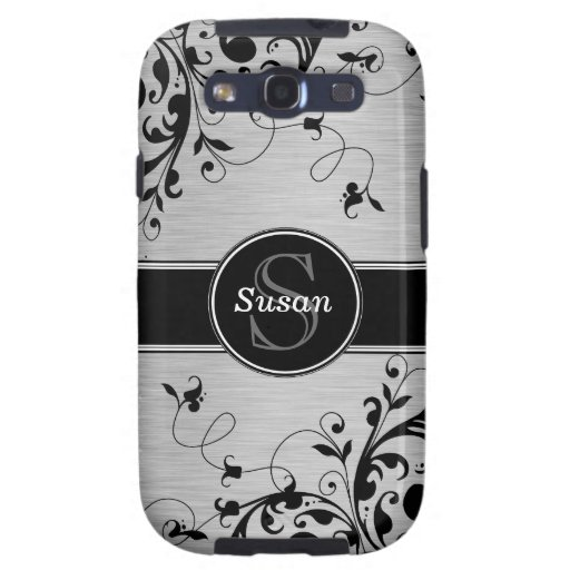 Silver Black Floral Swirls SAMSUNG Case Galaxy S3 Covers