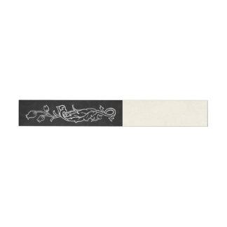 Silver & Black Floral Wrap Around Labels