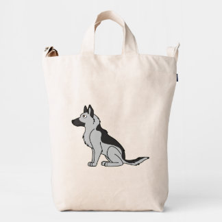 Silver & Black German Shepherd Duck Bag