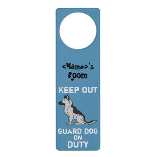 Silver & Black German Shepherd Guard Dog on Duty Door Knob Hanger