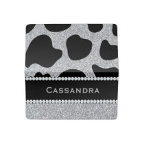 Silver & Black Glitter Cow Print Diamonds Name Checkbook Cover