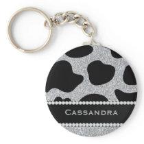 Silver & Black Glitter Cow Print Diamonds Name Keychain