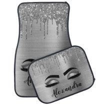 Silver Black Glitter Eyelashes Monogram Name Car Floor Mat