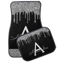 Silver Black Glitter Sparkle Monogram Car Floor Mat