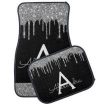 Silver Black Glitter Sparkle Monogram Car Floor Mat