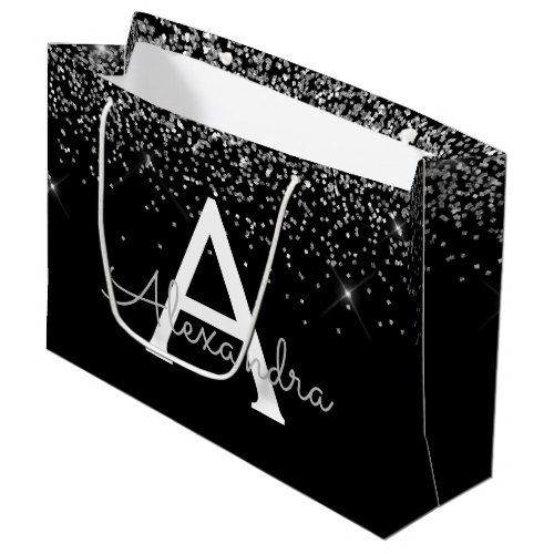 Silver Black Glitter & Sparkle Monogram Large Gift Bag