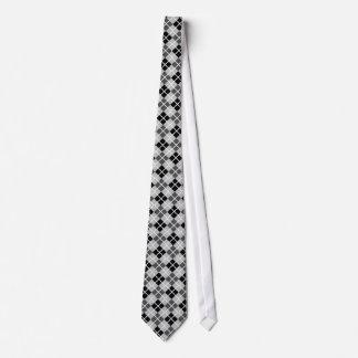 Silver, Black, Grey and White Argyle Print Necktie