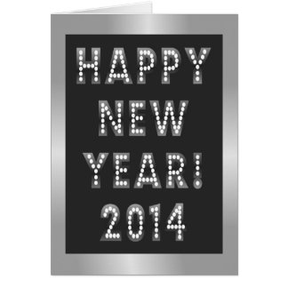 Silver & Black Happy New Year 2014 Greeting Cards