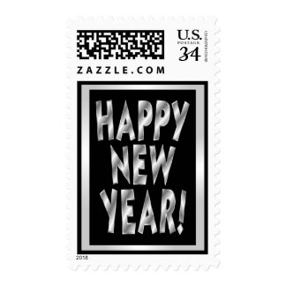 Silver & Black Happy New Year Stamps