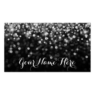 Silver Black Hollywood Glitz Glam Place Card Double-Sided Standard Business Cards (Pack Of 100)