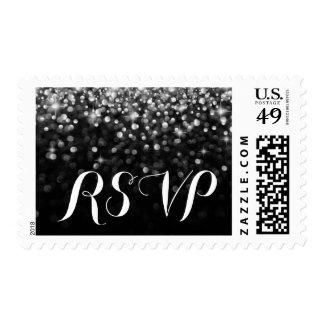 Silver Black Hollywood Glitz Glam RSVP postage