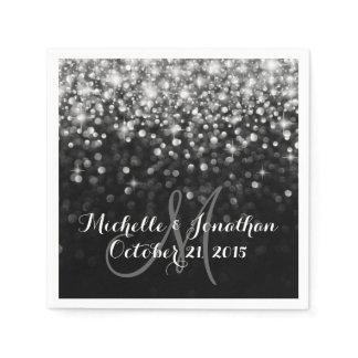 Silver Black Hollywood Glitz Glam Wedding Napkin