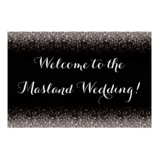 Silver Black Hollywood Glitz Glam Wedding Poster