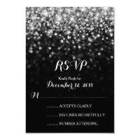 Silver Black Hollywood Glitz Glam Wedding RSVP Card (<em>$1.96</em>)