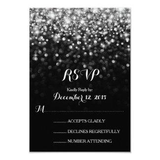 Silver Black Hollywood Glitz Glam Wedding RSVP 3.5x5 Paper Invitation Card