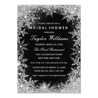 Silver Black Jewel Snowflake Bridal Shower 5x7 Paper Invitation Card