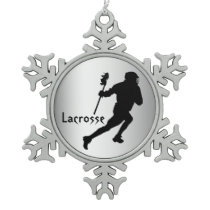 Silver Black Lacrosse Pewter Snowflake Ornament